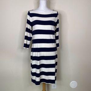 GAP Wide Navy White Stripes  Dress Pima Cotton